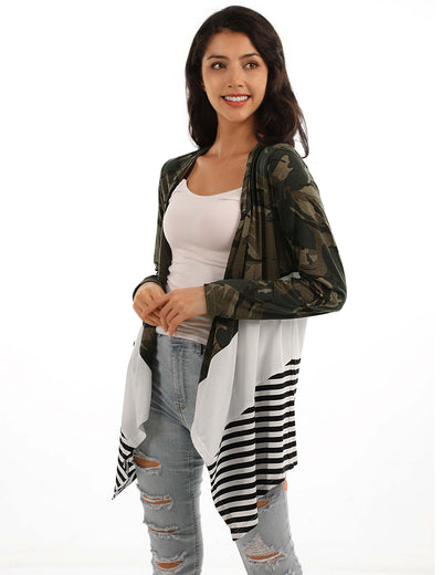 Blooming Jelly_Stylish Camo&Stripes Patchwork Thin Cardigan_Camo&Stripes PatchworK_293046_28_Stylish Women Outdoor Wear_Tops_Cardigan
