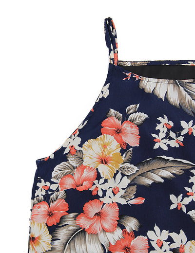 Sleeveless Floral Printed Casual Mini Dress
