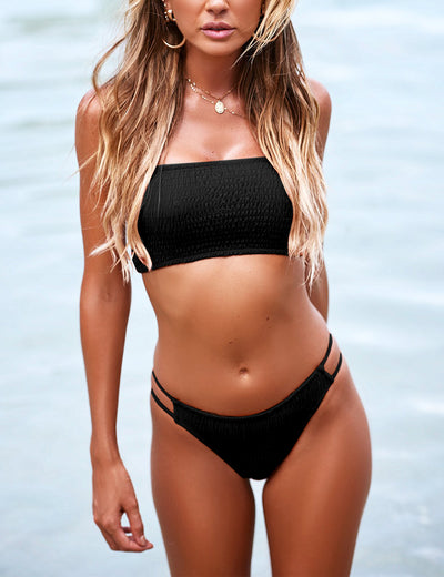 Blooming Jelly_So Hot Smocked Bandeau Cut Out Bikini Set_Solid Color Black_113031_02_Sexy Women High Cut Beach Vacation_Swimsuit_Bikini Set