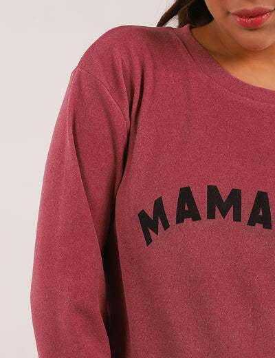 Letter Print Long Sleeve Pullover Sweatshirt - Blooming Jelly