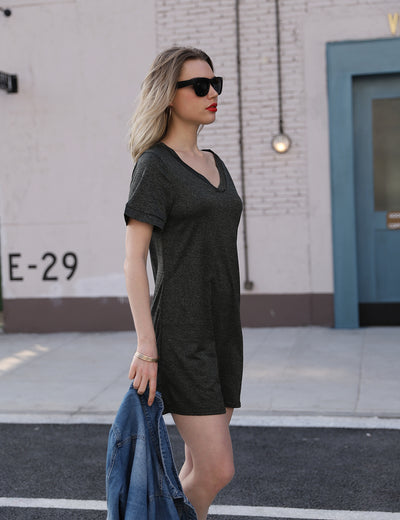 V Neck Dolman Sleeve Soft Dress