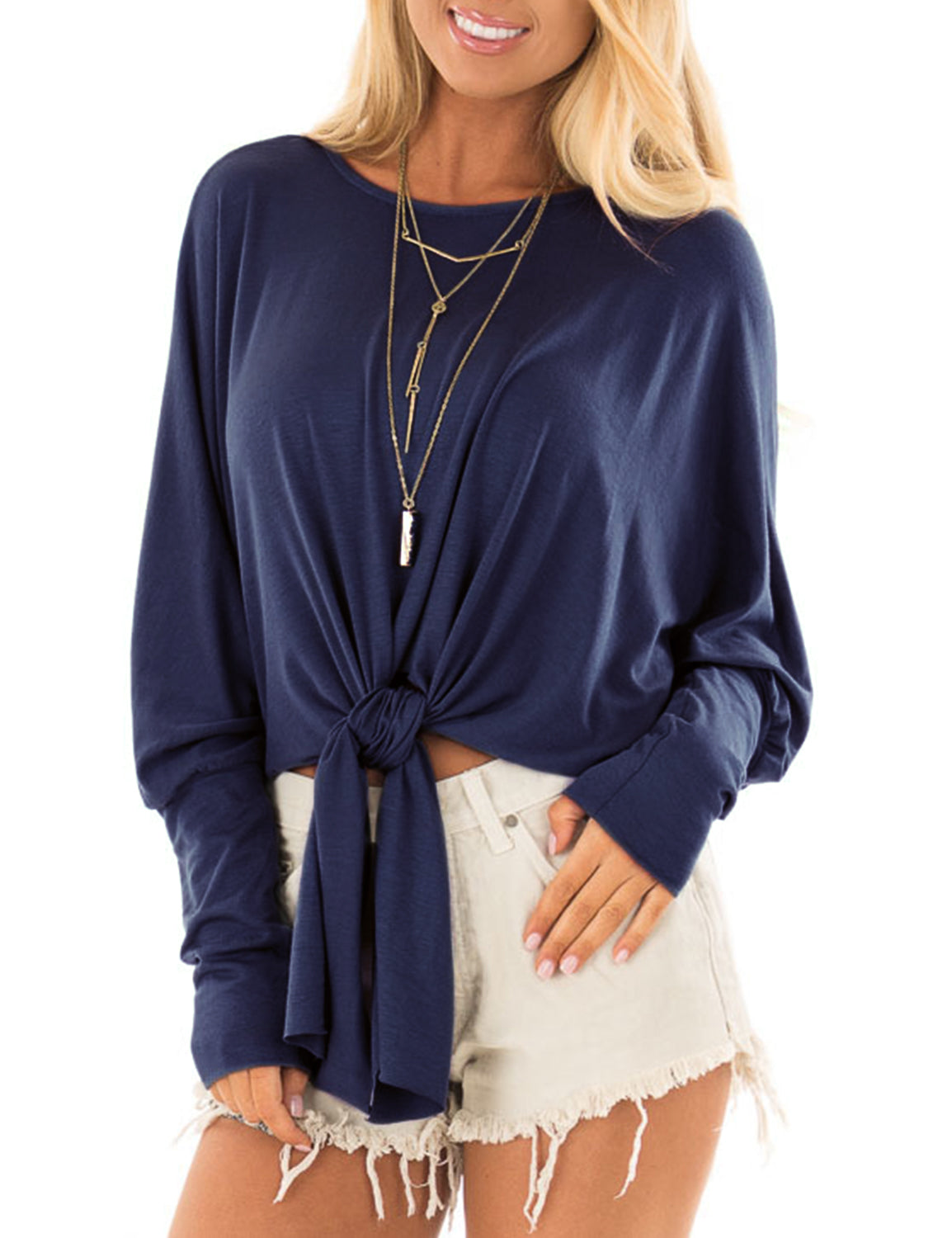 Dolman Sleeve Front Tie Crop Top