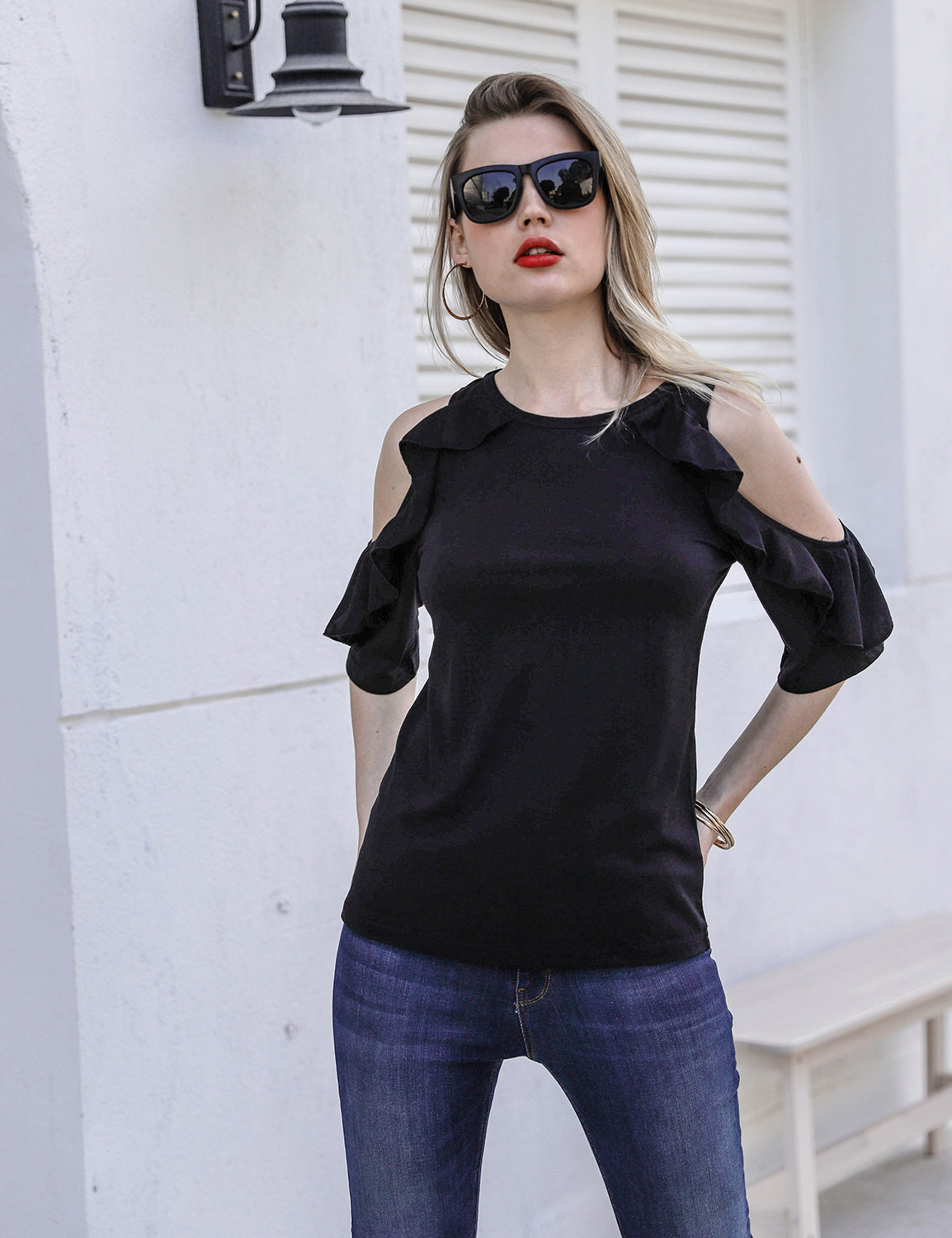 Ruffle Sleeve O Neck Soft Top