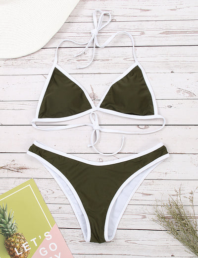 Sexy Adjustable Halter Triangle Bikini Set - Blooming Jelly