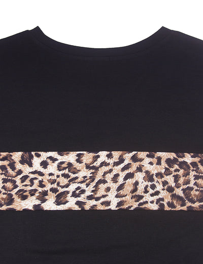 Wild Leopard Patchwork Loose Top - Blooming Jelly