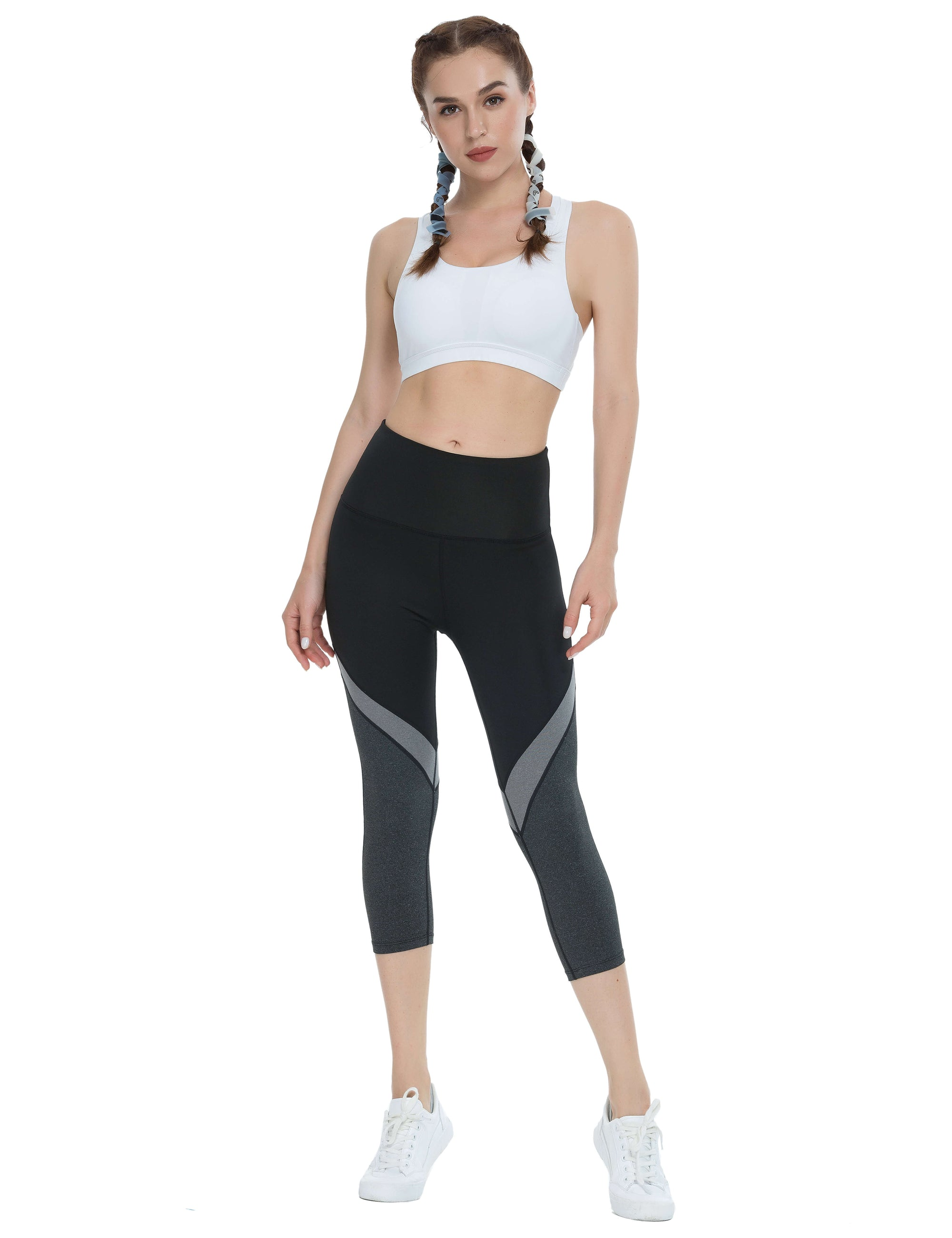 Blooming Jelly_Color Block High Waisted Capri Leggings_Contrast Color_257116_21_Women Sportswear High Rise Gym Clothes_Bottoms_Shorts
