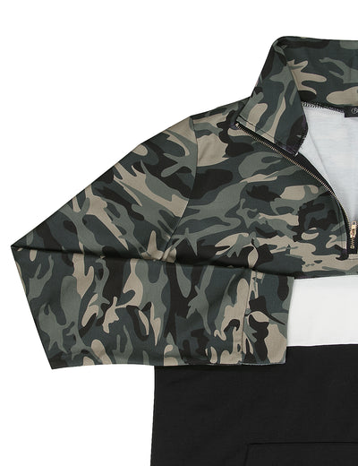 Blooming Jelly_Sporty Mock Neck Half Zipper Camo Sweatshirt_Black&Camo Patchwork_303014_02_Women Sporty Outdoor Wear_Tops_Sweatshirt