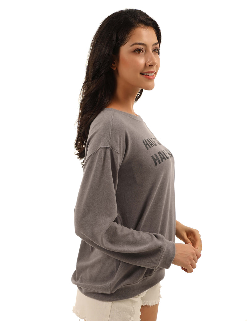 Lazy Day Drop Shoulder Letter Sweatshirt - Blooming Jelly