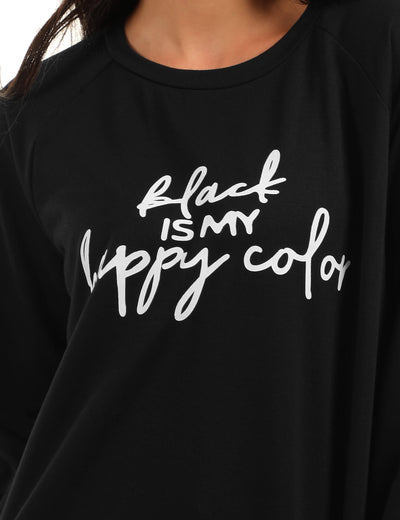 Black Is My Happy Color Casual Sweatshirt - Blooming Jelly