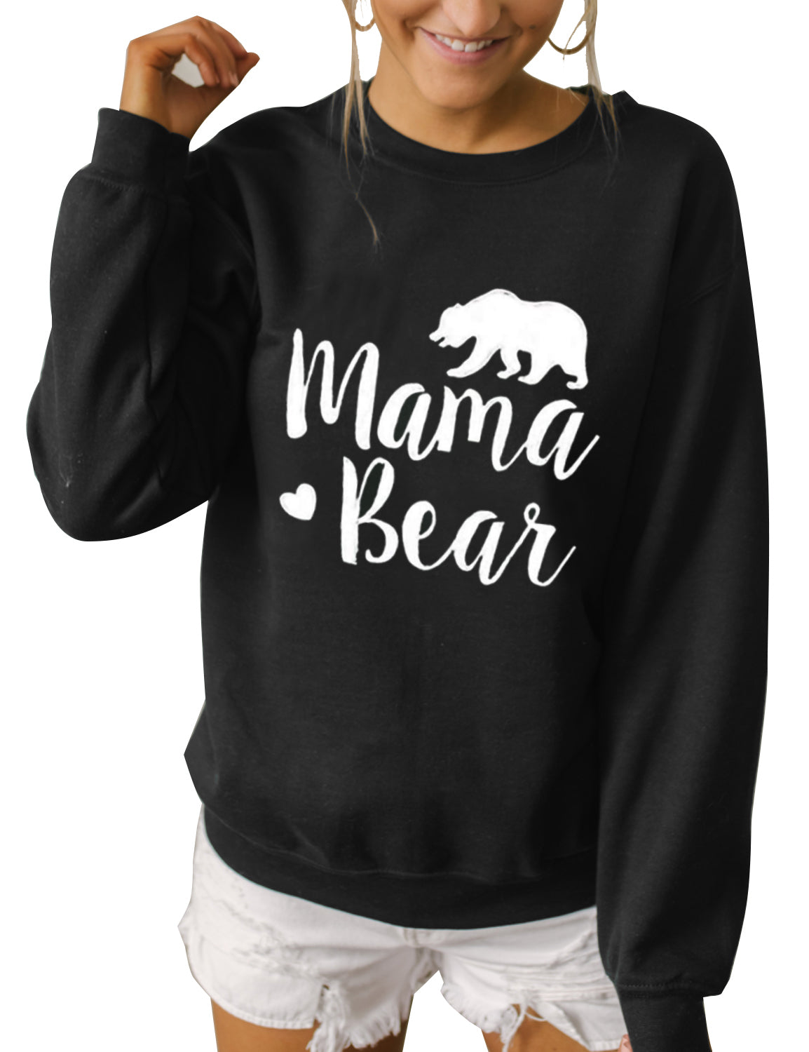 Blooming Jelly_Oversized Mama Bear Print Sweatshirt_Letter Print_305035_02_Loose Women Autumn&Winter Wear_Tops_Sweatshirt