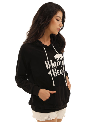 Cozy Mama Bear Print Pouch Pocket Hoodies - Blooming Jelly