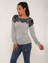 Blooming Jelly_Eyelash Lace Panel Patchwork Blouse_Dark Gray Lace Panel_154081_07_Elegant Outdoor Winter Daily Wear_Tops_Blouse