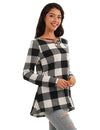 Classical Checker Plaid Loose Tunic Blouse
