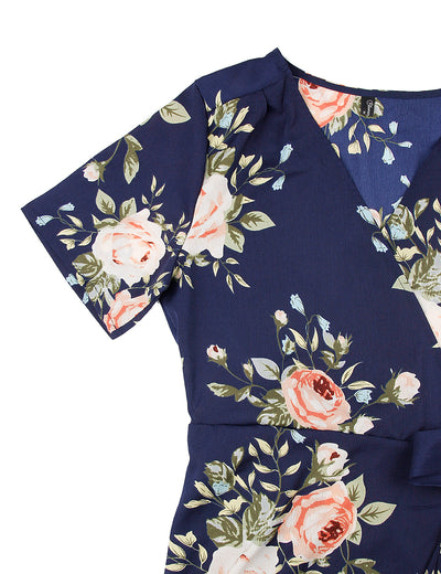 Blooming Jelly Chic Women Floral Print Long Wrap Dress_142358_Navy_Details 3