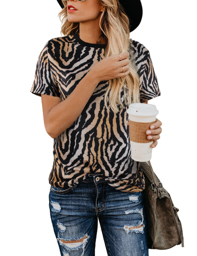 Trendy Animal Print Loose T-Shirt