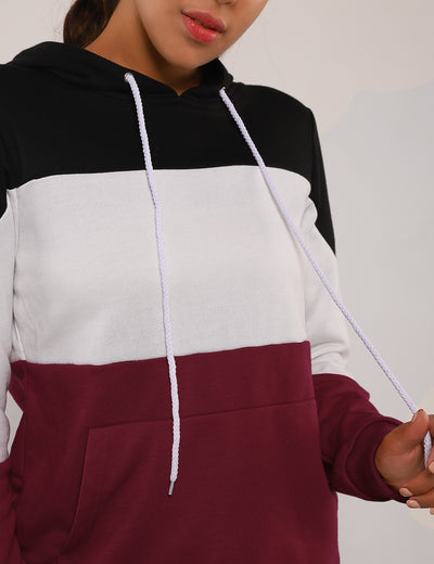 Hip Hop Pouch Pocket Color Block Hoodie - Blooming Jelly