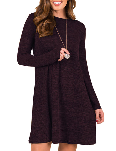 Blooming Jelly_Trendy Long Sleeves Loose Sweater Dress_Dark Red_142399_15_Autumn&Winter Fashion Casual_Dress_Mini Dress