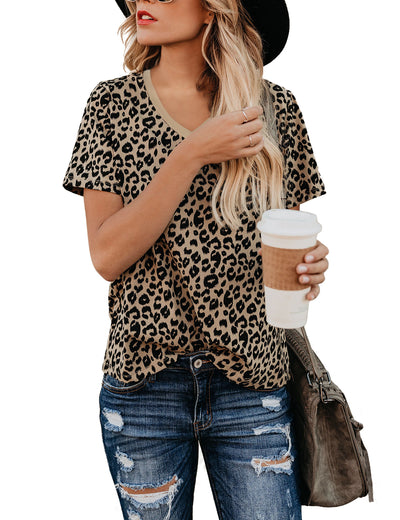 V Neck Leopard Loose T-Shirt - Blooming Jelly