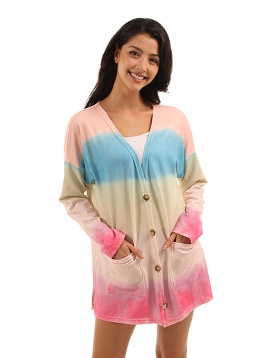 Blooming Jelly_Fairy Tale Colorful Rainbow Tie Dye Cardigan_Rainbow Colorful Tie Dye Print_295027_36_Women Autumn&Winter Pockets_Tops_Cardigan