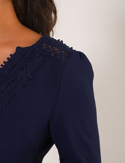 Blooming Jelly_Lace Patchwork Tunic Tops V Neck Blouse_Navy_156059_03_Graceful Spring&Autumn Daily Wear_Tops_Blouse
