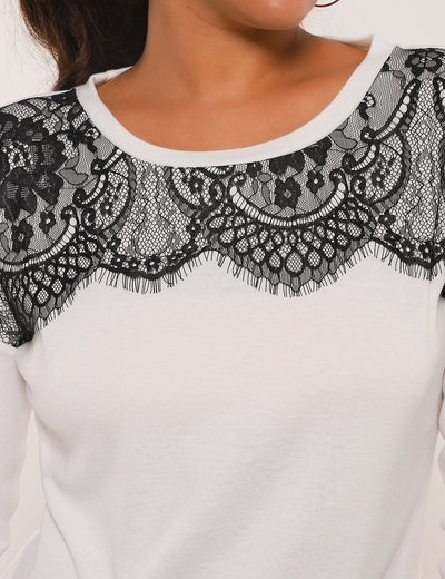 Eyelash Lace Panel Patchwork Blouse - Blooming Jelly