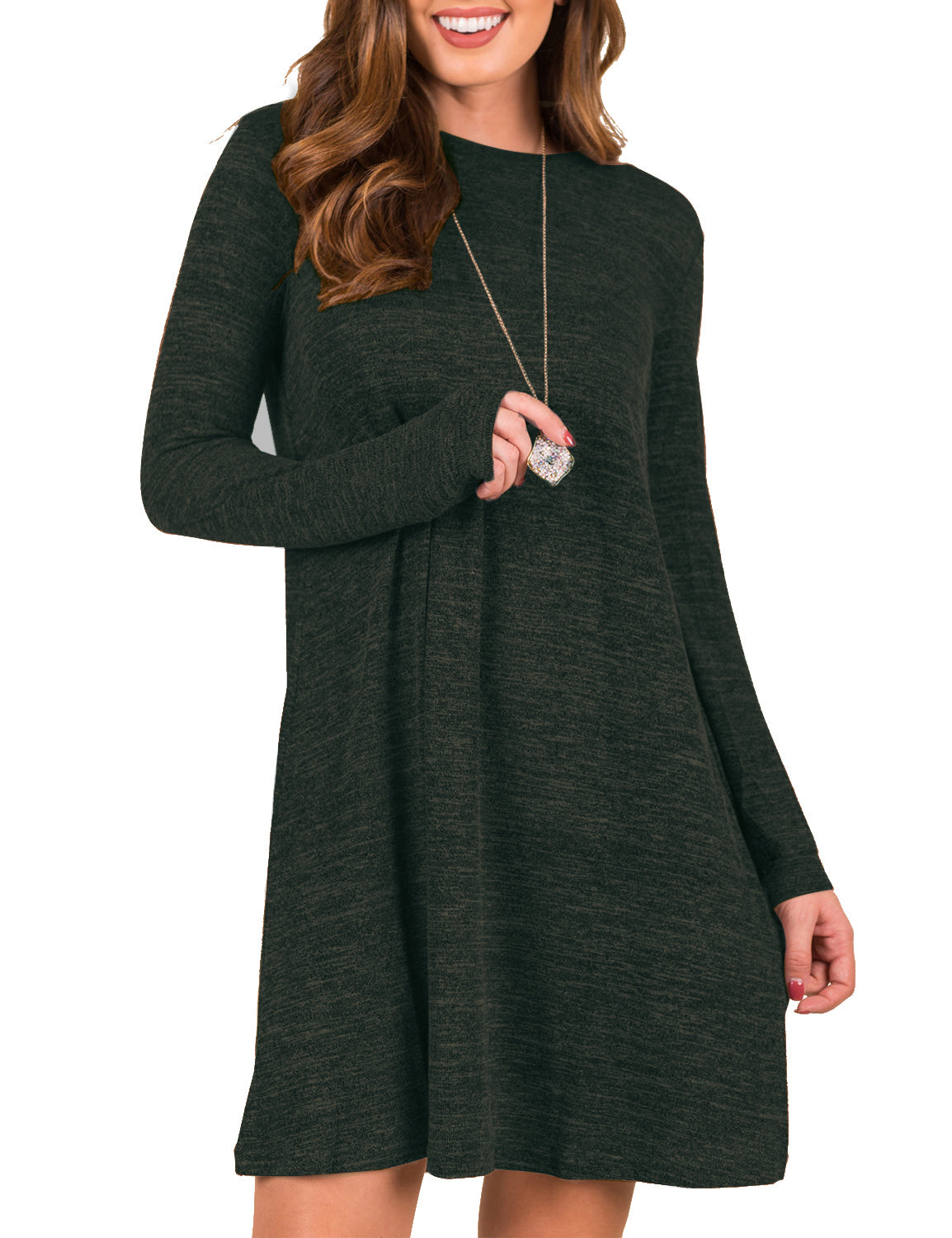 Trendy Long Sleeves Loose Sweater Dress - Blooming Jelly