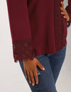 Lace Patchwork Tunic Top V Neck Blouse - Blooming Jelly