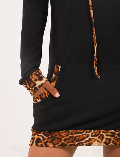 Blooming Jelly_Wild Leopard Patchwork Pouch Pocket Long Hoodie_Black Leopard Patchwork_305005_02_Chic Wild Outdoor Long_Tops_Hoodie