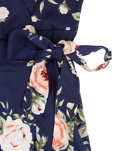Blooming Jelly Chic Women Floral Print Long Wrap Dress_142358_Navy_Details 4