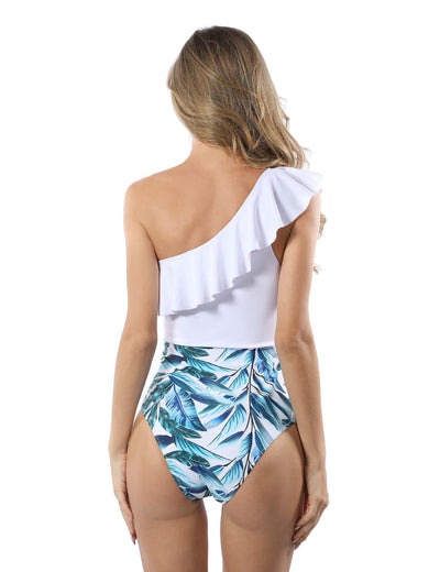 Summer Choice Ruffled Patchwork One Piece Swimsuit - Blooming Jelly