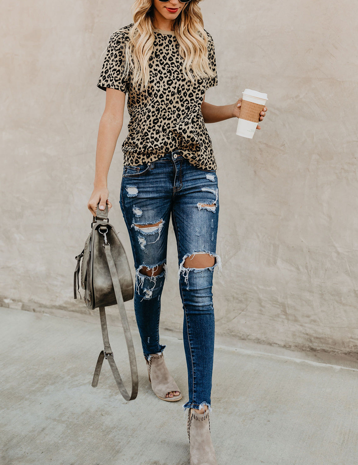 Casual Leopard Print Loose T-shirt