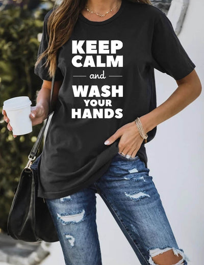 Keep Calm And Wash Your Hands Print T-Shirt - Blooming Jelly