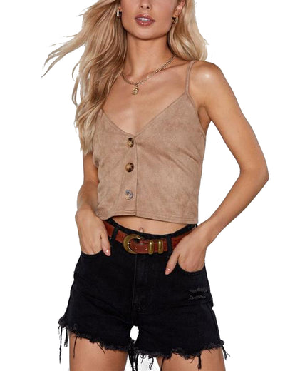Chic V Neck Button-up Cropped Tank Top