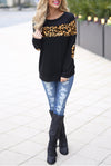 Blooming Jelly_Contrast Color Long Sleeve Patchwork Sweatshirt_Leopard Print_152545_22_Autumn&Winter Contrast Outdoor_Tops_Sweatshirt