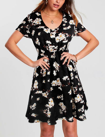 Floral Print A-Line Flare Mini Dress - Blooming Jelly