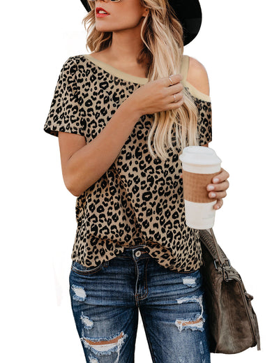 Cold Shoulder Leopard Print T-Shirt - Blooming Jelly