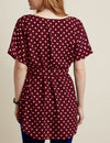 Retro Polka Dots Round Neck Blouse with Belt