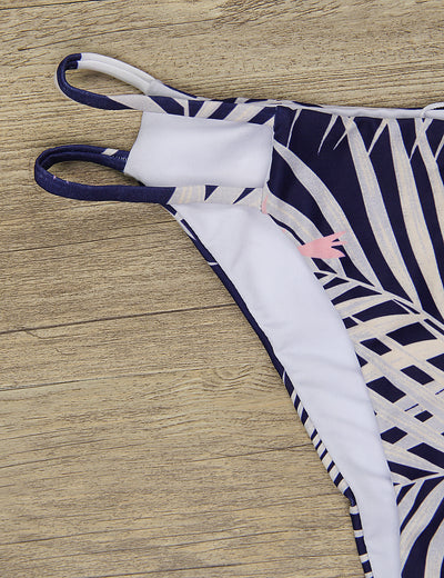 Tropical Print Cut-out Bikini Set