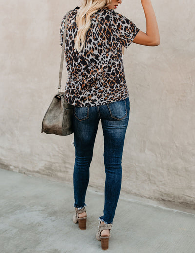 City Beauty Animal Print Loose T-Shirt - Blooming Jelly