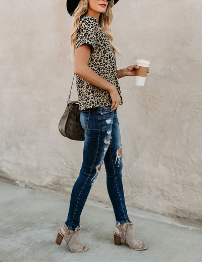 Casual Leopard Print Loose T-shirt - Blooming Jelly