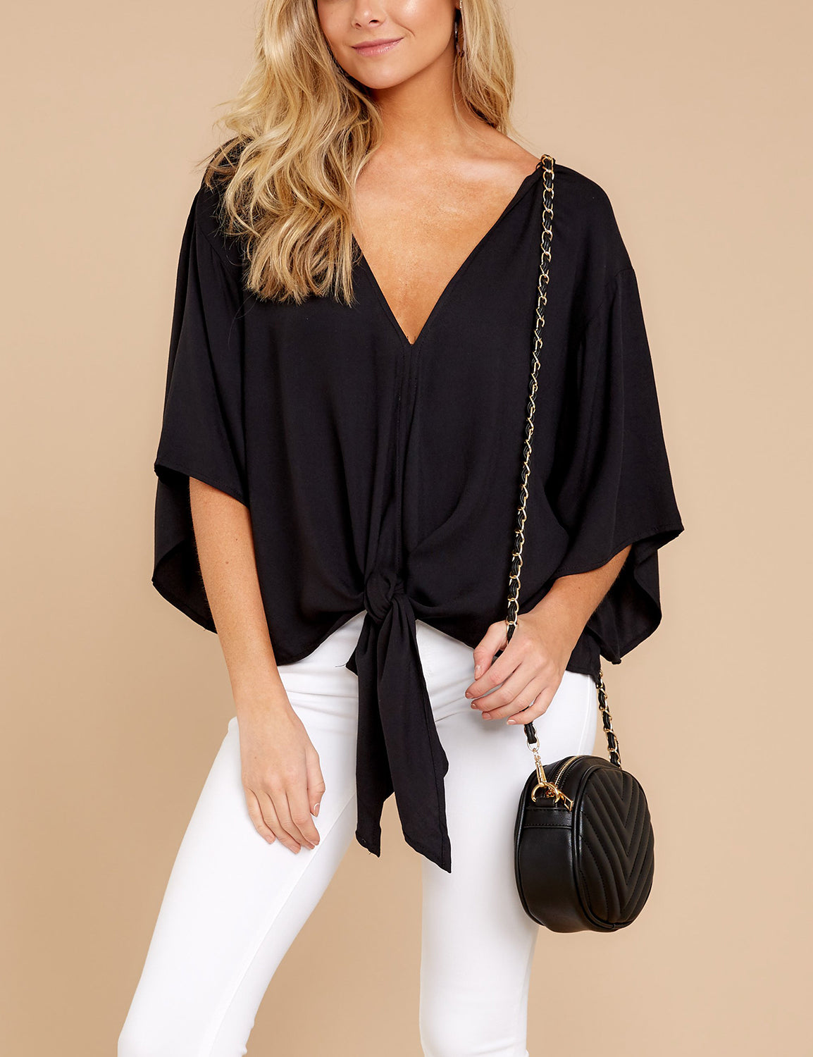 Modern Front Knot Batwing Sleeves Loose Blouse