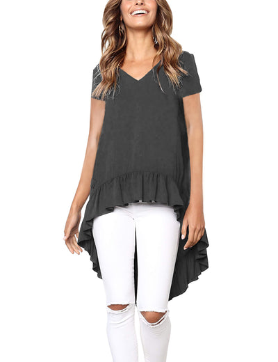 Ruffled Hem Loose Top Irregular Knit Tee