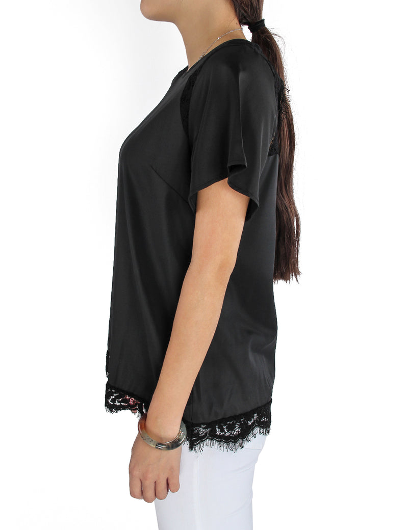 Lace Patchwork Knotted Back Chiffon Blouse - Blooming Jelly