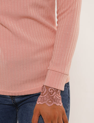 Elegant Ribbed Lace Patchwork Blouse - Blooming Jelly