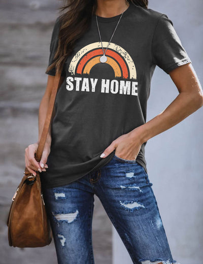 Stay Home Stay Safe Letter Printed T-Shirt - Blooming Jelly