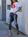 Blooming Jelly_Trendy Red Lip Hole T-Shirt_Graphic Print_153416_19_Women Casual Summer Wear_Tops_T-Shirt
