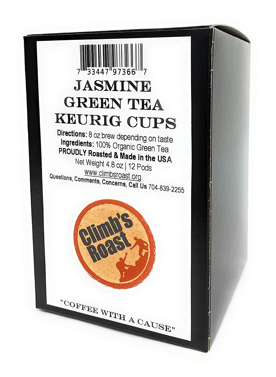 Climb's Roast Jasmine Green Tea Pods for Keurig and Single Cup Brewing Machines, Pack of 12