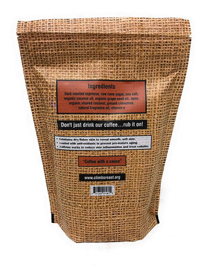 Climb's Roast USDA Organic & Natural 100% ARABICA Coffee & Coconut Body Scrub for Exfoliation, Anti-Wrinkle, Acne, Stretch Marks and More by Sack Cloth and Ashes