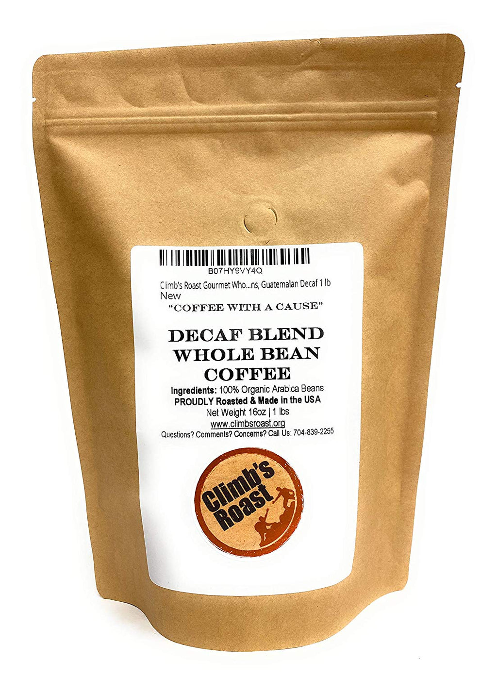 Climb's Roast Gourmet Swiss Water Process Decaf Whole Roasted Coffee Beans, 1 Pound, Guatemalan Peru Blend