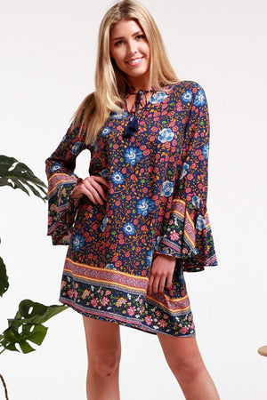Summer Blue Flower Loose Mini Dress